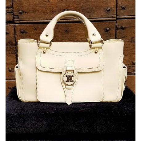 Cèline - Ivory colored leather bag